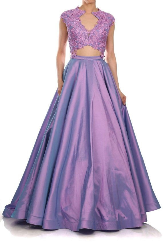 Runway 2 piece Purple illusion evening gown floral lace long taffeta ...