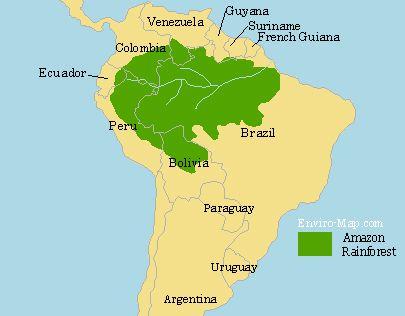 Amazon Rainforest Map Amazon Rainforest Map Rainforest Map