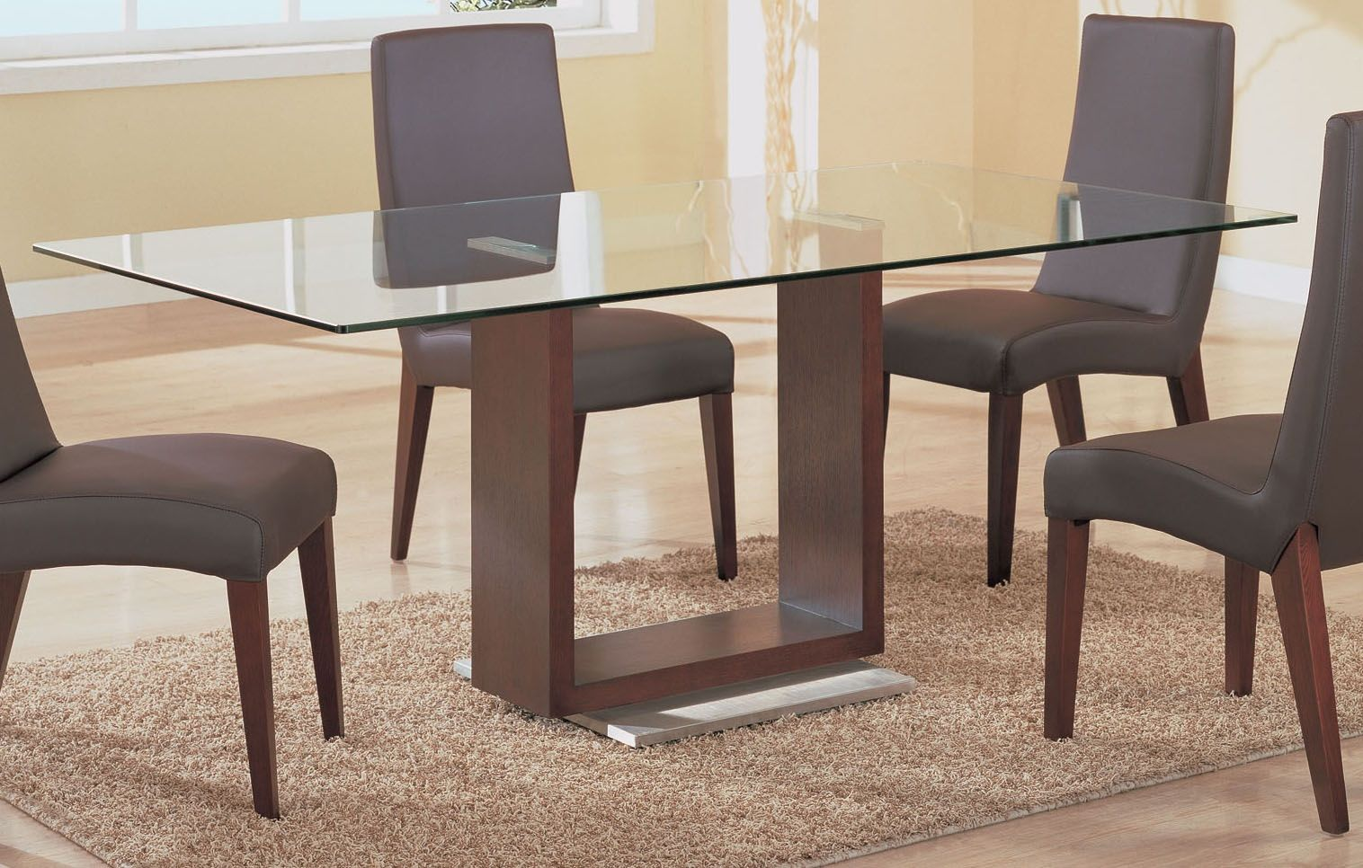 Wood table bases captivating glass top dining table wood for Glass dining table designs