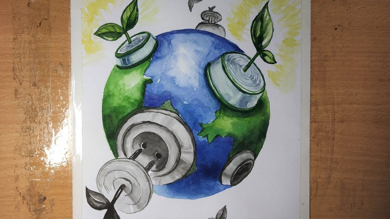Save Environment Save Earth Save Trees Watercolor