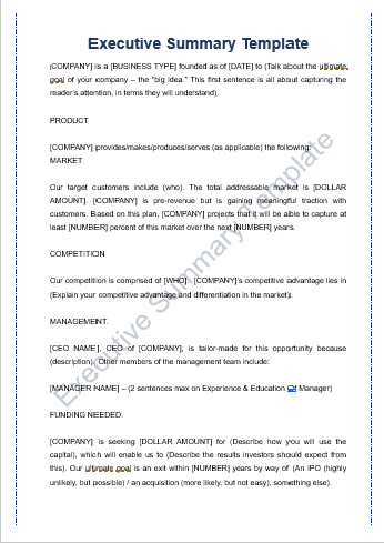 10+ Executive Summary Templates | Word, Excel & PDF Templates | www ...