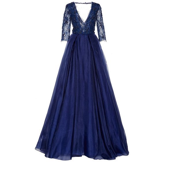 Beaded Lace Ball Gown | Moda Operandi (7'600 CHF) ❤ liked on Polyvore featuring dresses, gowns, long dresses, long fitted dresses, lace maxi skirt, blue dress, beaded gown and long blue dress