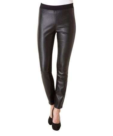 Loving this Black Faux Leather High-Waist Leggings on #zulily! #zulilyfinds