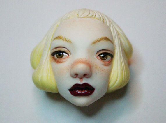 Arika Alkina! Cute Handmade Sculpted Doll Face Brooch!