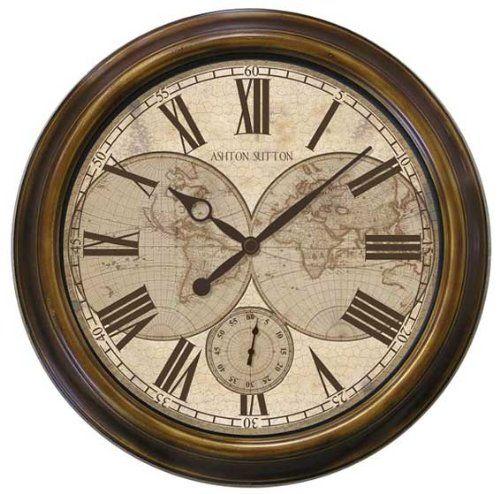 Antique World Map Wall Clock Outdoor Wall Clocks Wall Clock Classic Clock