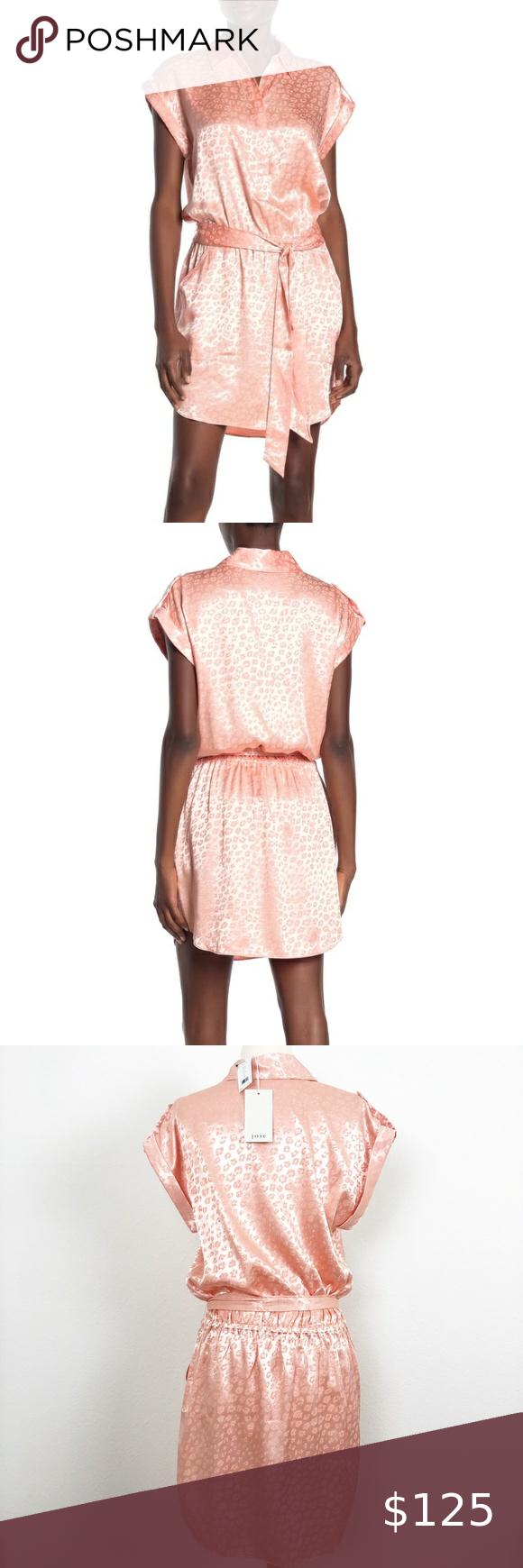 Joie Daran Satin Pink Leopard Shirt Dress Small