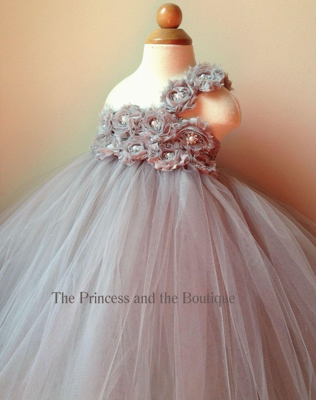 Flower Girl Dress Gray Flower Girl Dress Silver Flower Girl Dress