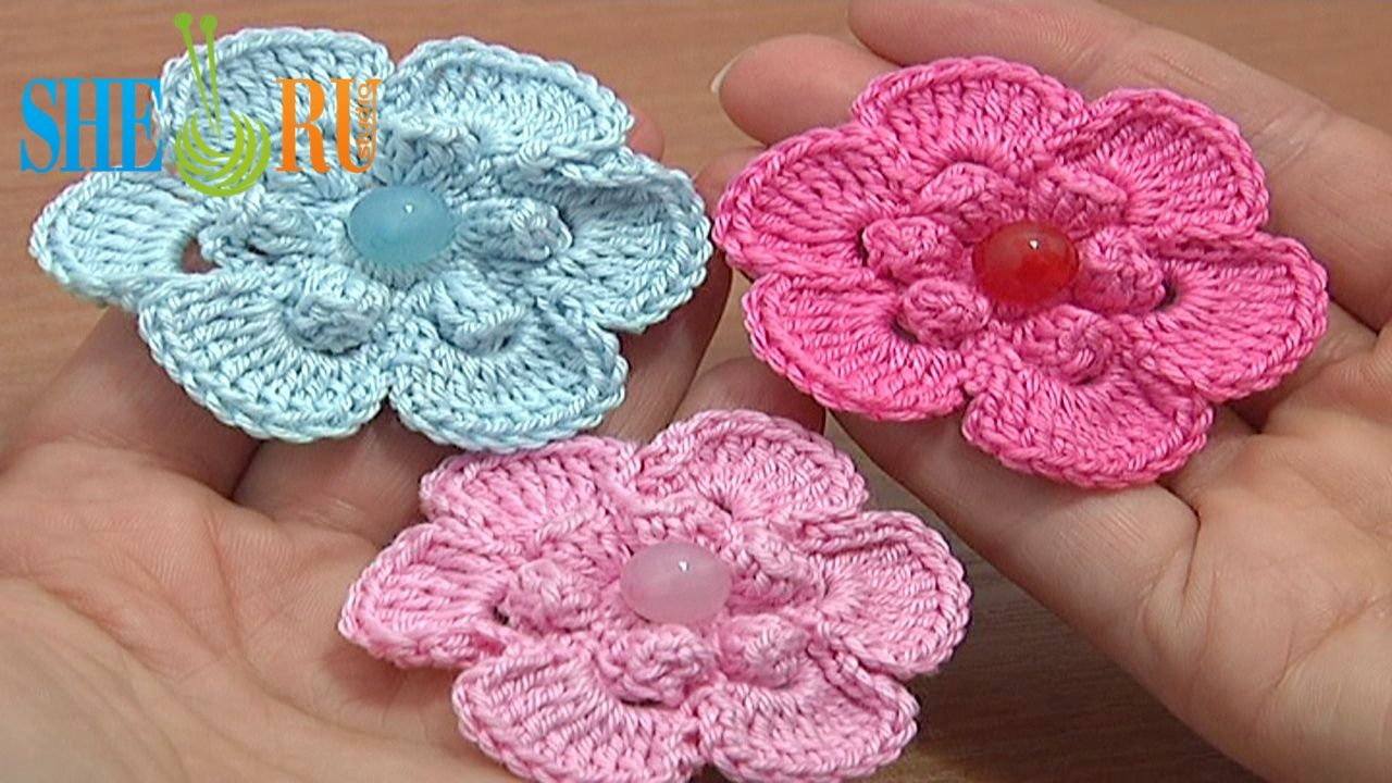 Diy crochet 6 petal puff stitch flower blanket - Crochet Popcorn Stitch 6 Petal Flower We Invite You To Visit Https