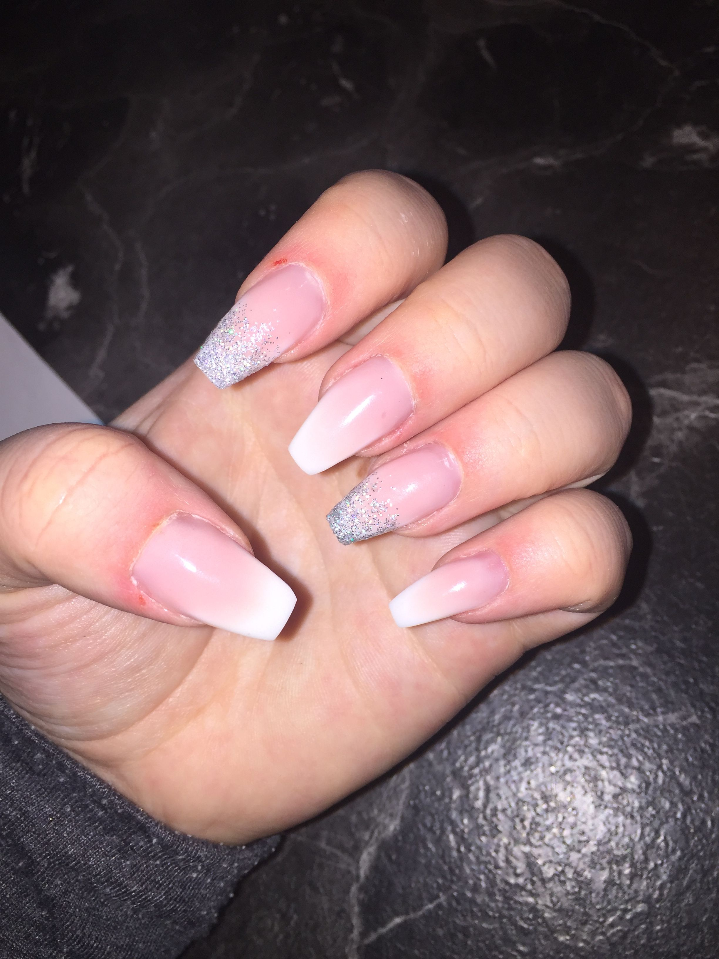 Nails Nagel Glitzer Silber Nature Gelnails Gelnagel