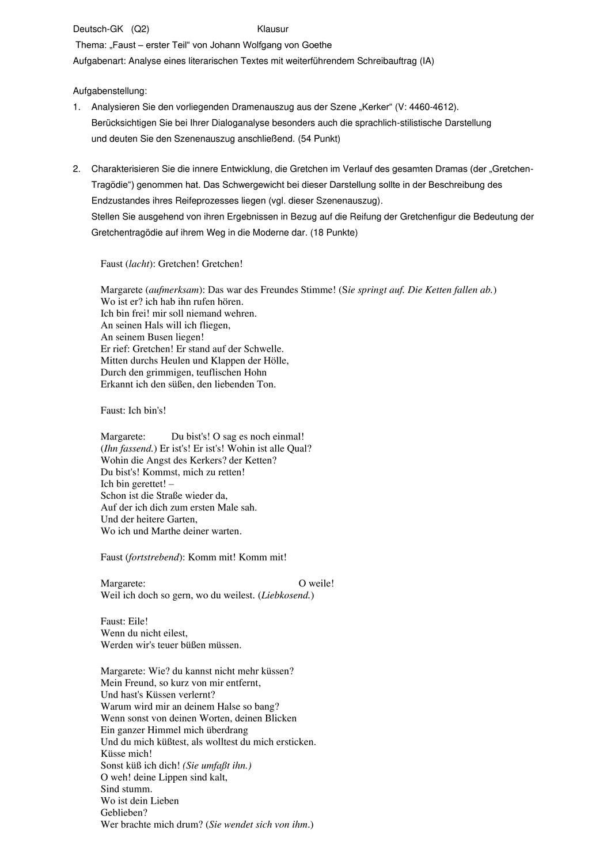 Goethe Faust Klausur Und Ewh Zur Kerker Szene Unterrichtsmaterial Im Fach Deutsch Szene Drama Analysieren
