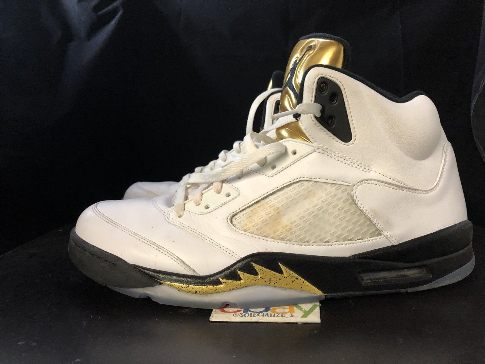 new concept 9360f ce99f Nike Air Jordan V 5 Retro OLYMPIC WHITE BLACK METALLIC GOLD COIN 136027-133  16