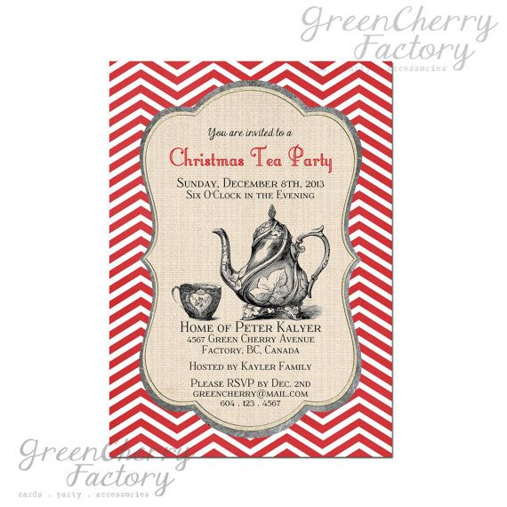 Printable Christmas Tea Party Invitation by GreenCherryFactory - tea party invitation