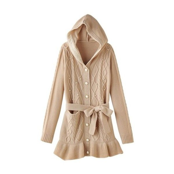 [RyuRyu] Placket Lace Long Cable-Knit Cardigan Spring 2015 New Item,... (405 SEK) ❤ liked on Polyvore featuring tops, cardigans, long cardigan, long tops, cable knit cardigan, beaded lace top and lacy tops