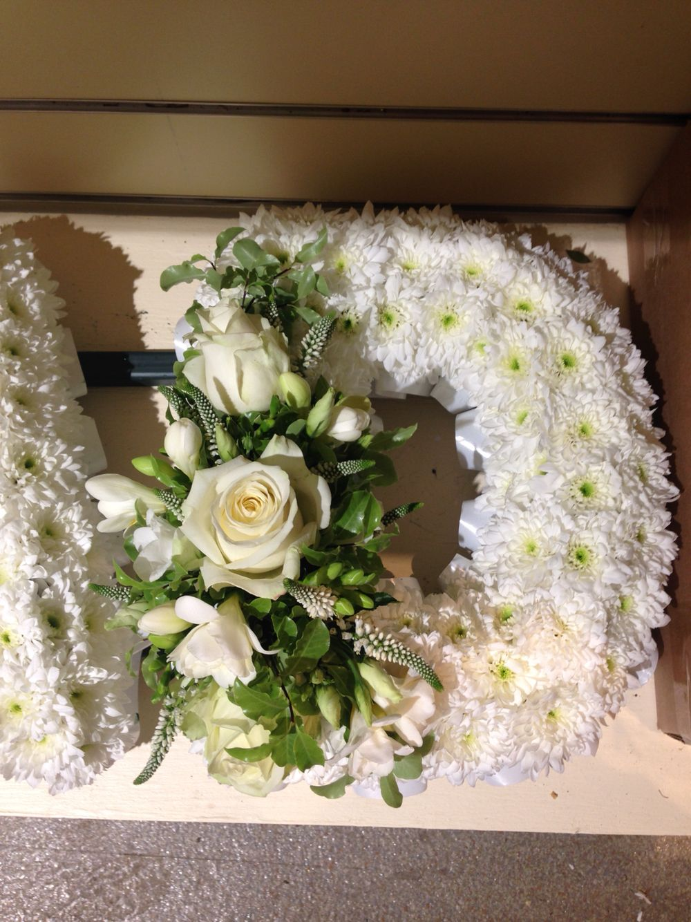 White Based Funeral Letter D With White Ribbon Edge And Large White Spray Funeral Flower Arrangements Flower Arrangements Diy Funeral Flowers