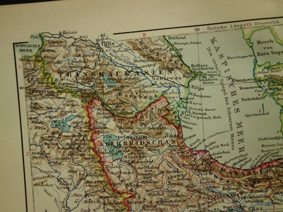 PERSIA old map original 1906 antique German detailed map of Persia