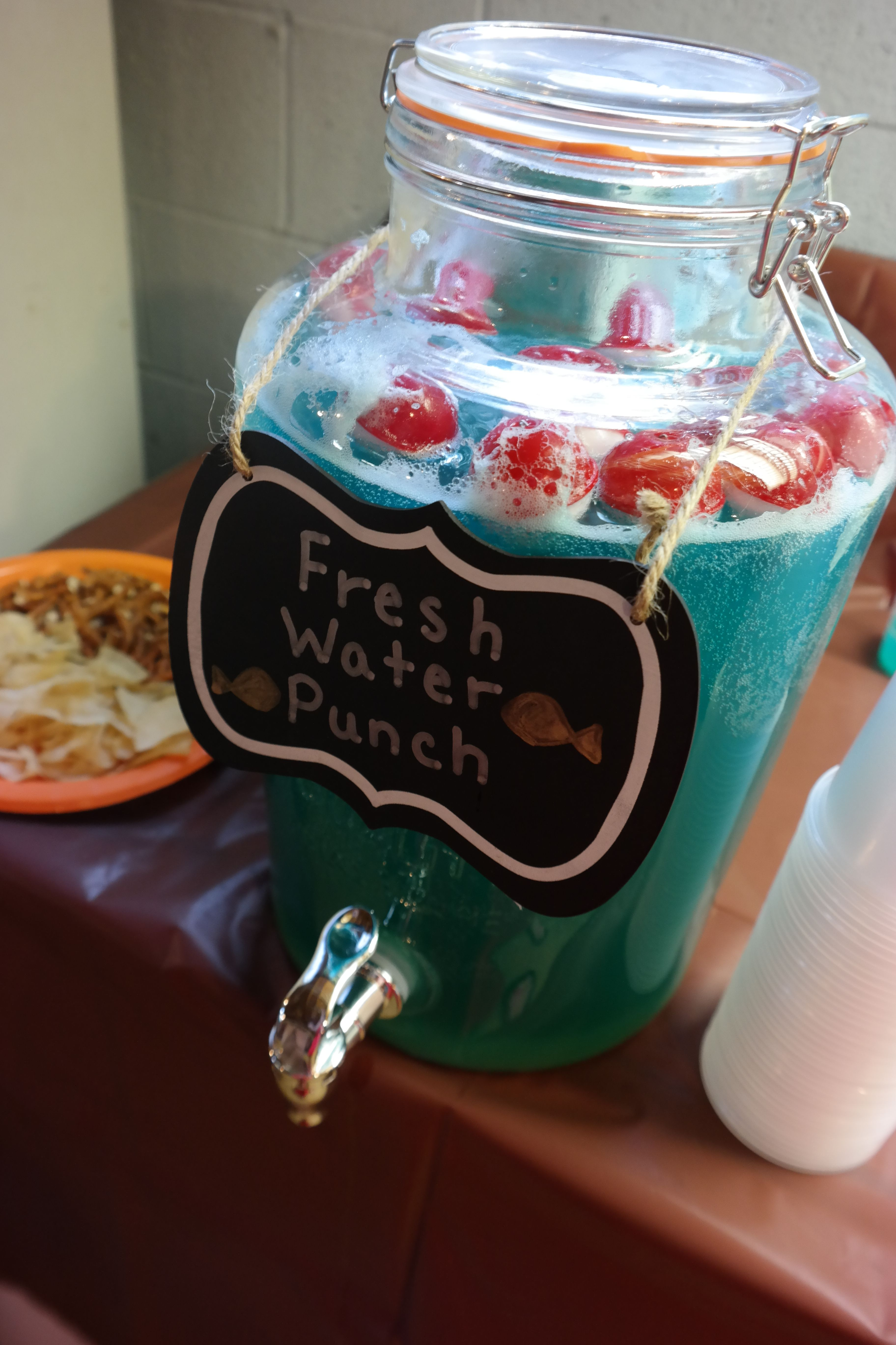 fishing theme decor baby shower fooddrink blue punch with bobbers floating