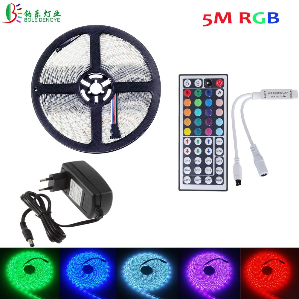 Bole Dengye Rgb Led Strip 5050 5m 10m 2m 3m Waterproof Flexible Diode Tape 44key Ir Remote Rgb Controller 12v Led Adapter Www Rgb Led 12v Led Led Strip