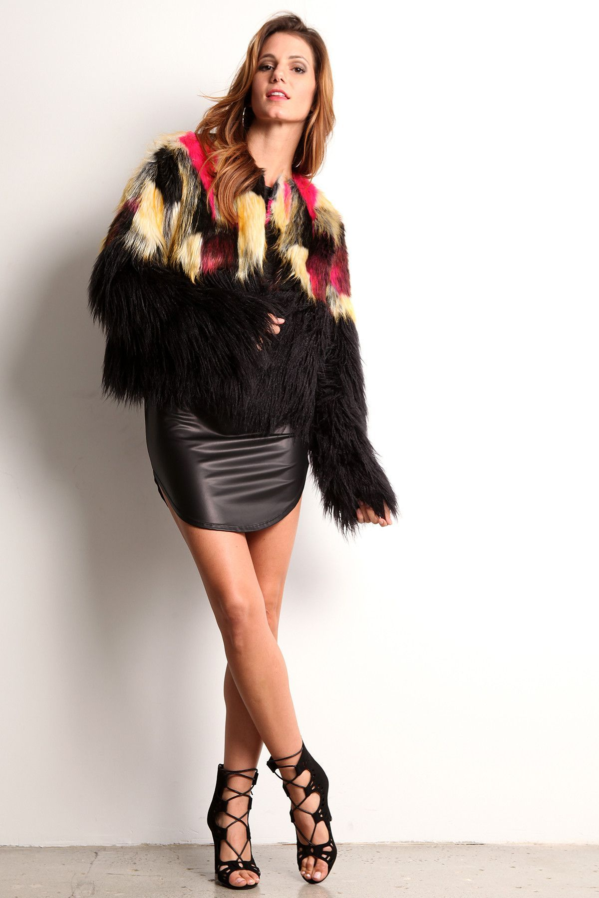 Georgia - Thick Faux Fur Jacket with Color Accents