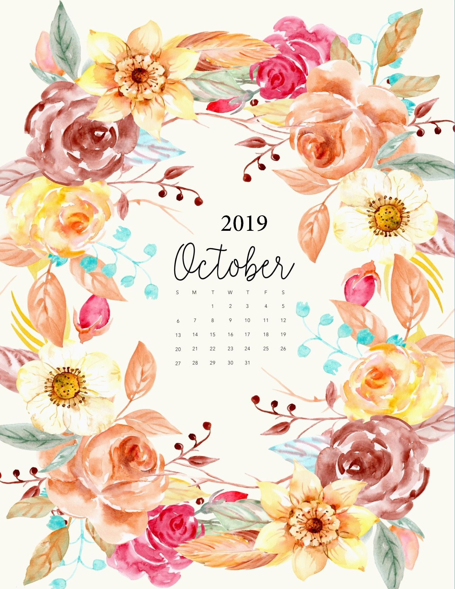 Best October 2019 iPhone Calendar Wallpaper #octoberwallpaperiphone