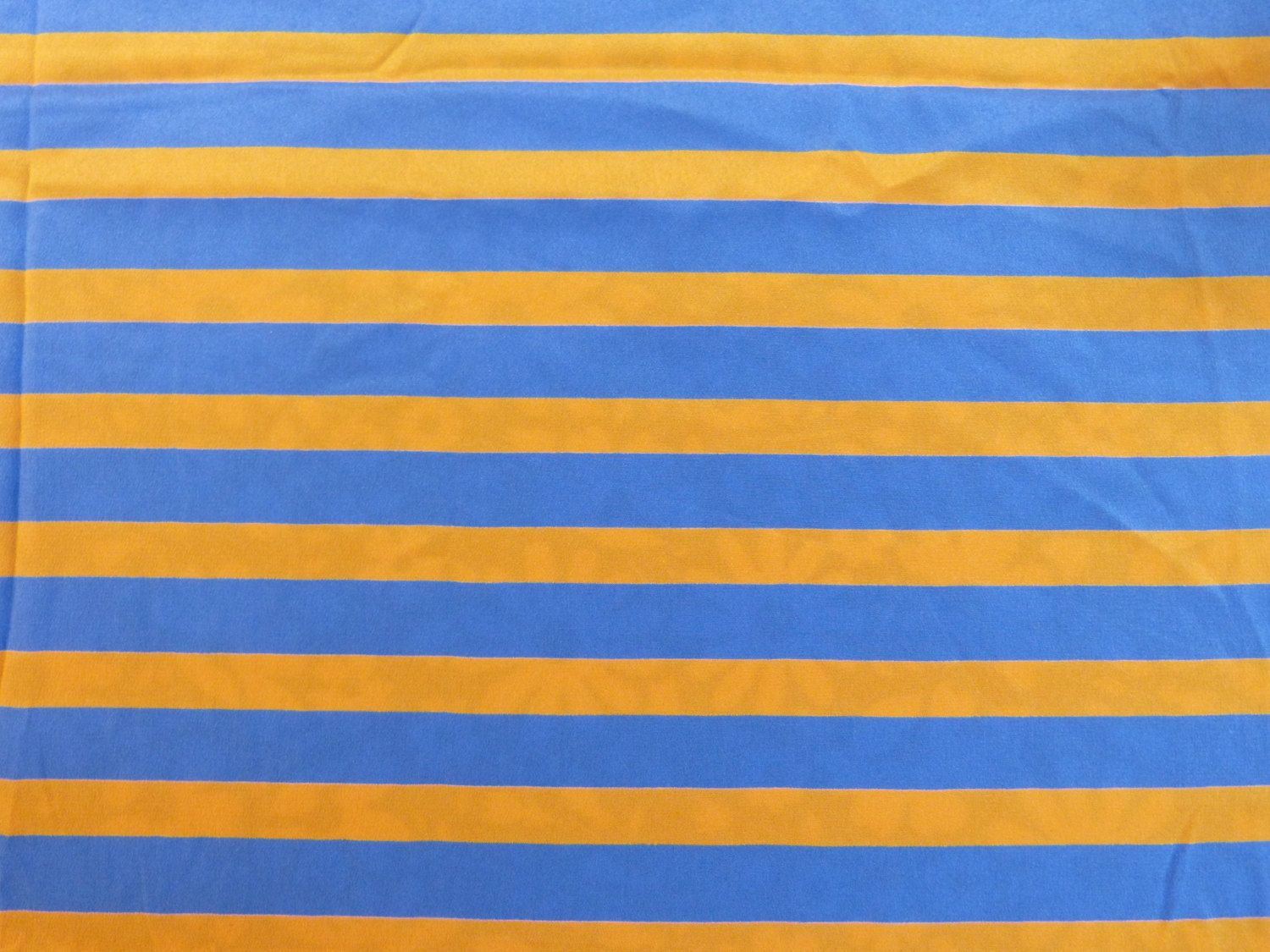Ochre & blue stripes fluid light weight silky polyester unused fabric coupon - French 80s vintage pretty ochre & blue stripes pattern, the fabric feels like fluid & silky & slightly shiny light weight polyester, great for linings & scarves & blouses the fabric is unused, no stains, no rips, no flaws excellent condition  width circa 140 cm length circa 245 cm  *for all your sewing projects*   PLEASE READ MY POLICIES PAGE BEFORE ORDERING!  www.facebook.com/labaronnevintage…