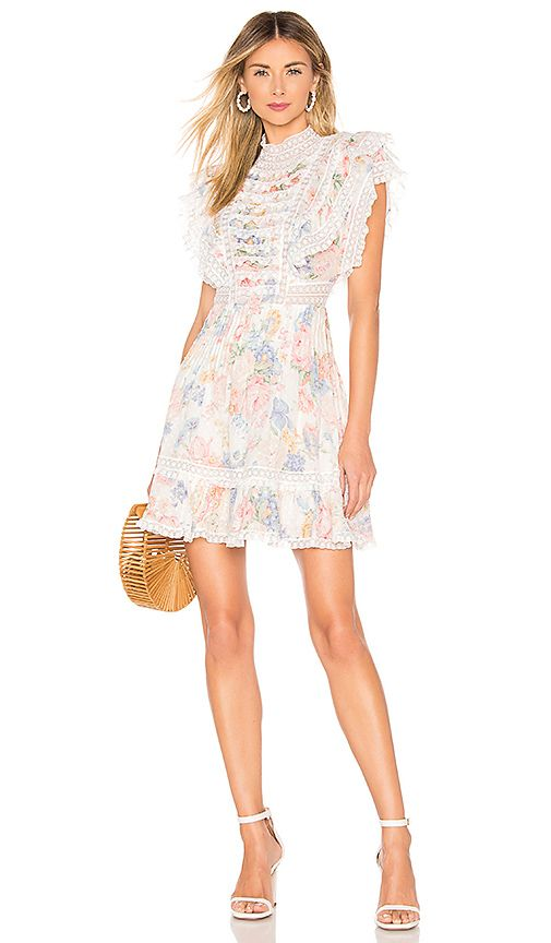 Zimmermann Bowie Frill Mini Dress In Cream Floral