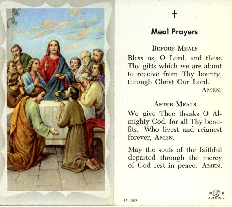Prayer Before And After Meals Holy Card