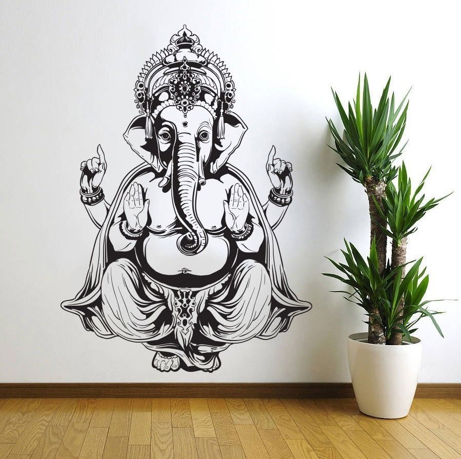 Three Elephant Wall Decals India Mandala Buddha OM Vinyl Bedroom - Wall decals india
