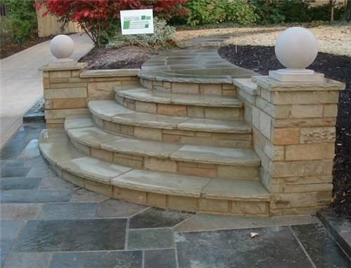 New Stair Idea From Driveway To Front Walkway Exterior Stairs Stone Entryway House Paint Exterior