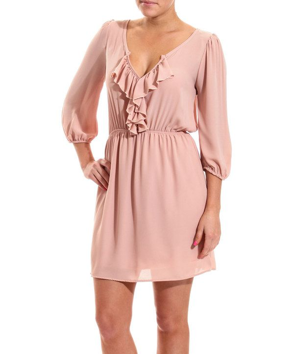 Look at this Coveted Clothing Rose Ruffle Notch Neck Dress on #zulily today!