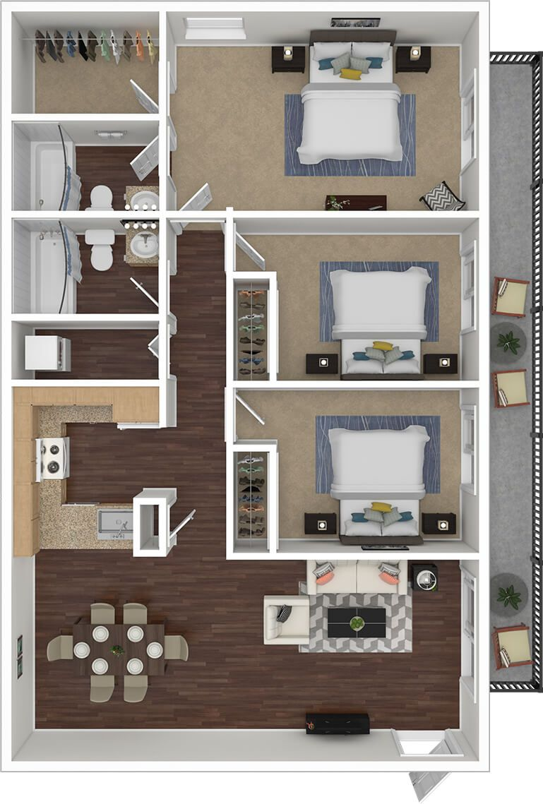 3 Bedroom Two Bath Apartments In 2020 Apartment Floor Plans Country Style House Plans Bedroom House Plans