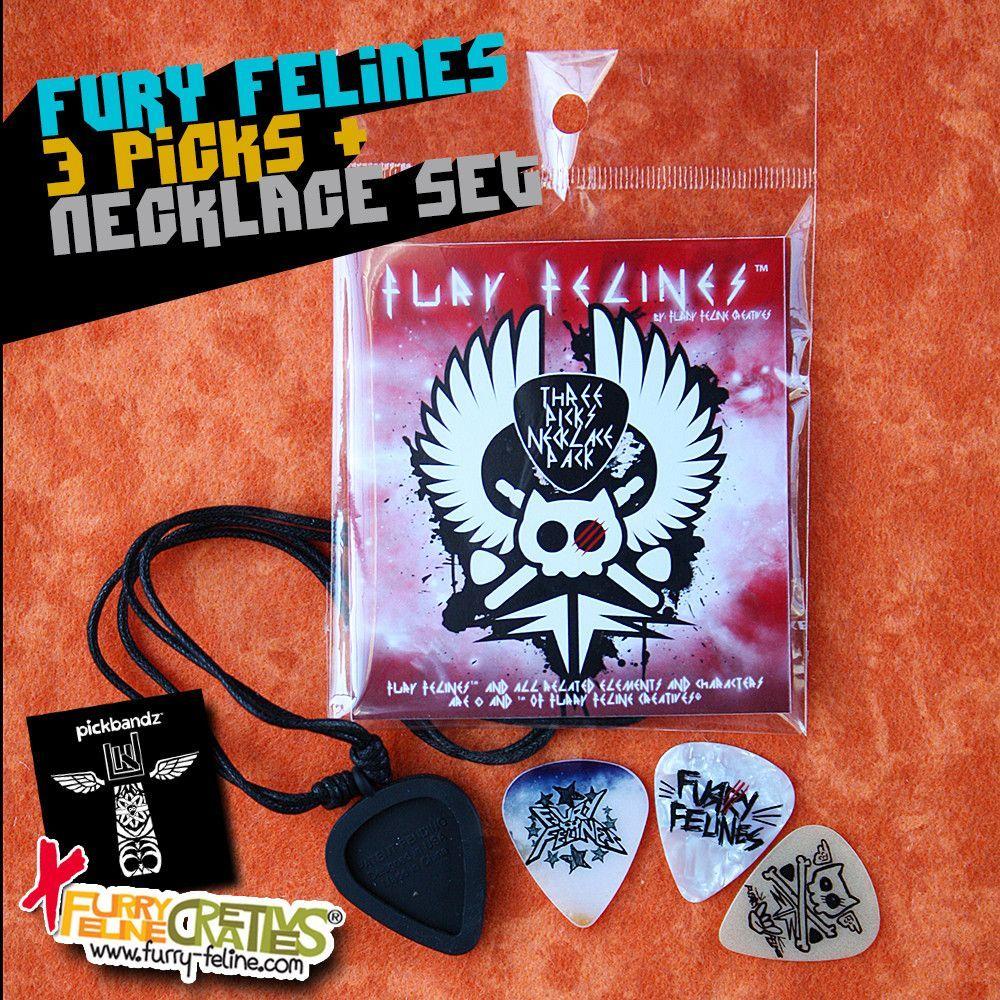 Fury Felines Pick Holder Necklace set