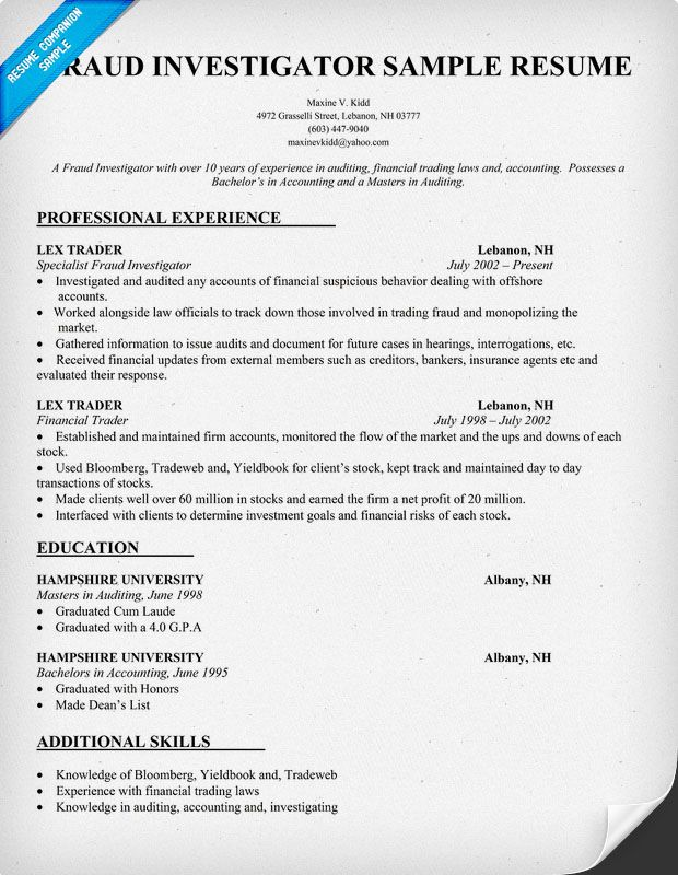 sample fraud investigator resume