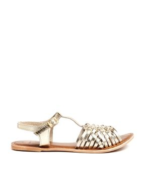 4416b80ed175fa Gold · New Look Heed Gold Leather Gladiator Flat Sandals