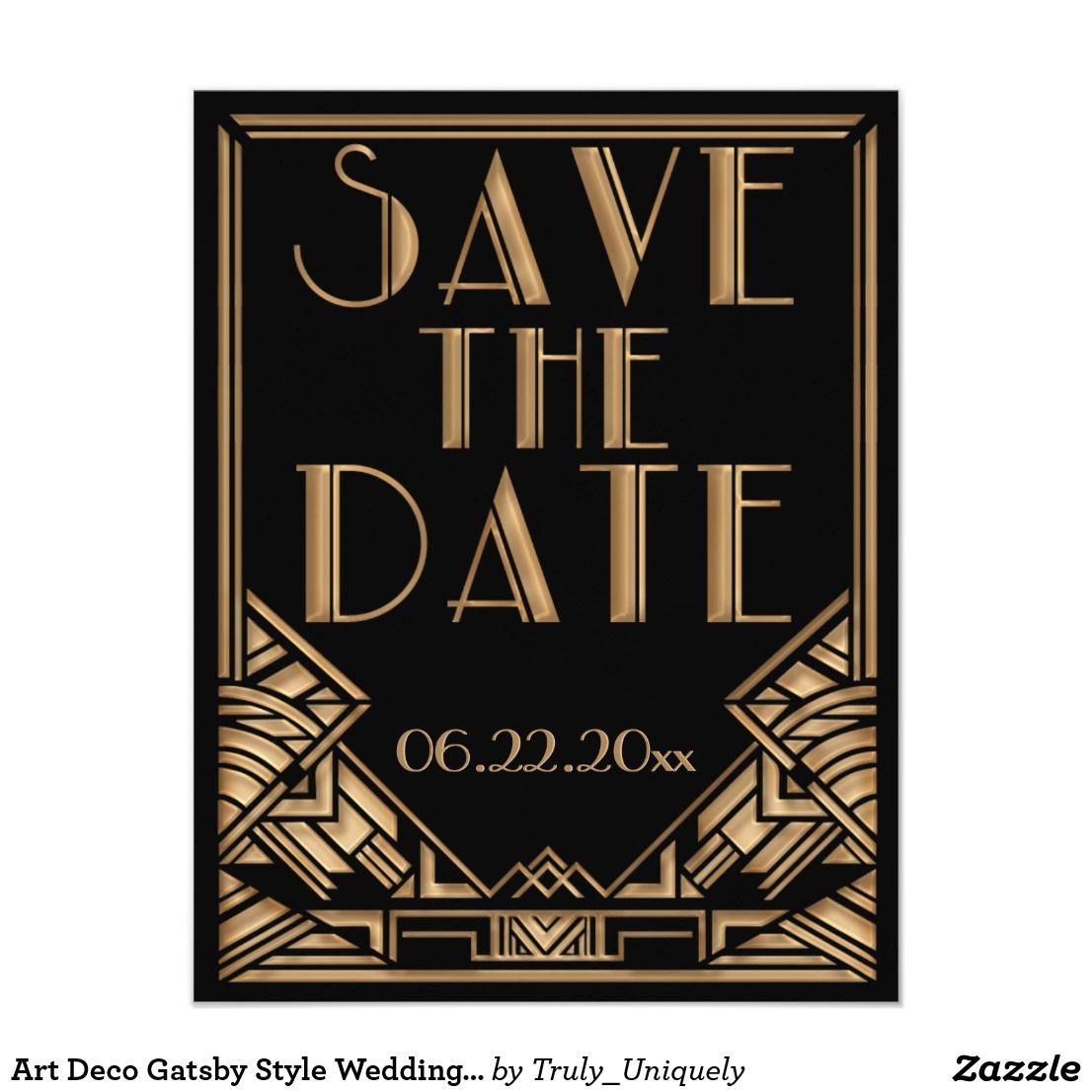 Art Deco Gatsby Style Wedding Save the Date | Zazzle.com