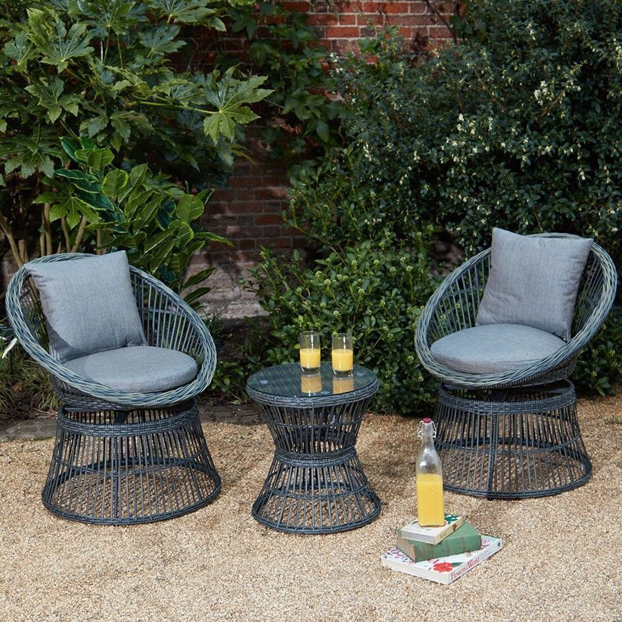 Enjoyable 2 Seat Bistro Set Grey Rattan Round Table Swivel Chairs Caraccident5 Cool Chair Designs And Ideas Caraccident5Info