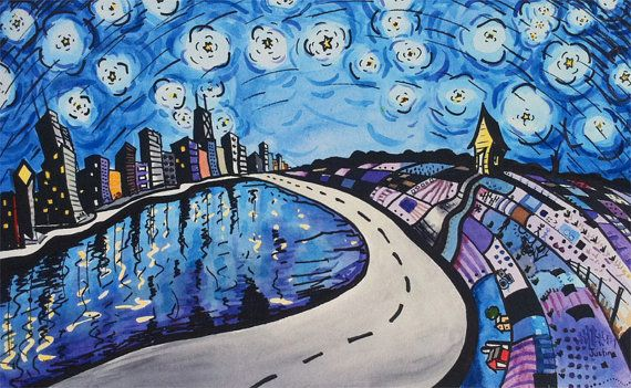 5x8 Giclee Print  Starry Night Over Chicago by justinvining, $15.00