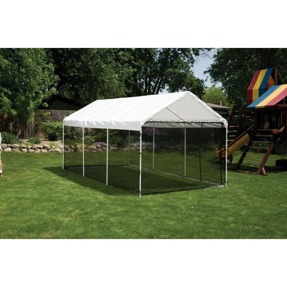 Shelterlogic 10 Ft W X 20 Ft H Max Ap 2 In 1 Canopy In White W Screenhouse Enclosure Kit And Waterproof Cover 23531 Canopy Outdoor Outdoor Backyard