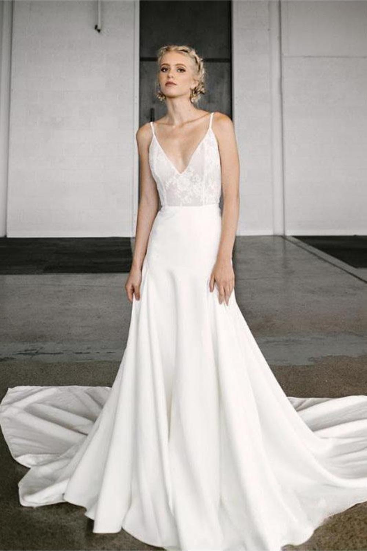 Elegant ALine V Neck Spaghetti Straps Wedding Dresses