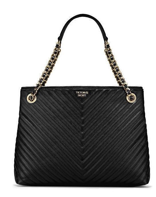 New NWT Victoria s Secret Pebbled V-Quilt Shoulder Bag Purse Tote Black  Sold Out   61137107fde83