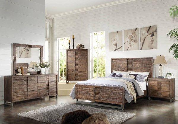 Andria Modern Reclaimed Oak Acacia Wood Master Bedroom Set King Bedroom Sets Bedroom Sets Queen Platform Bedroom Sets