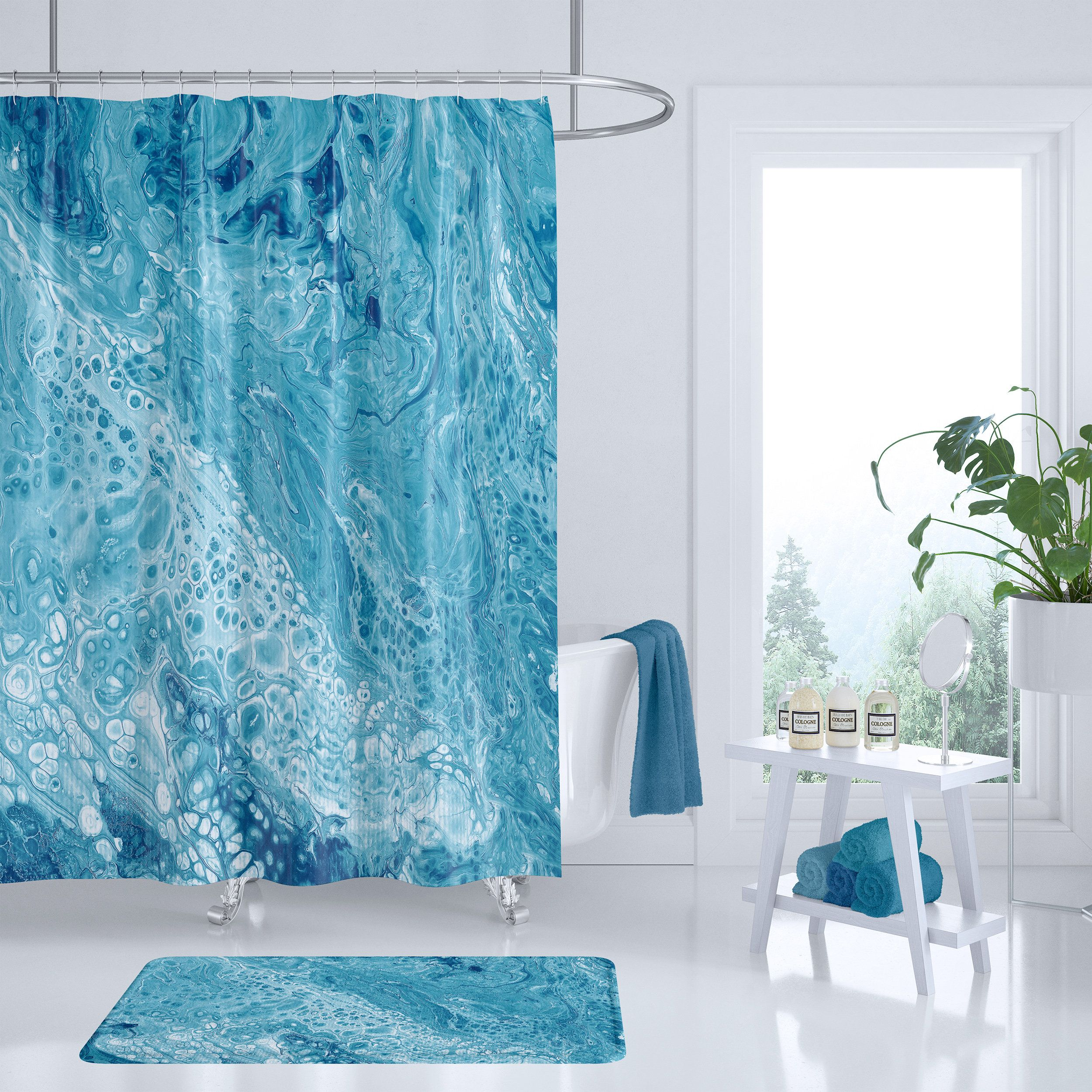 Blue And White Marble Shower Curtain Beautiful Marble Design