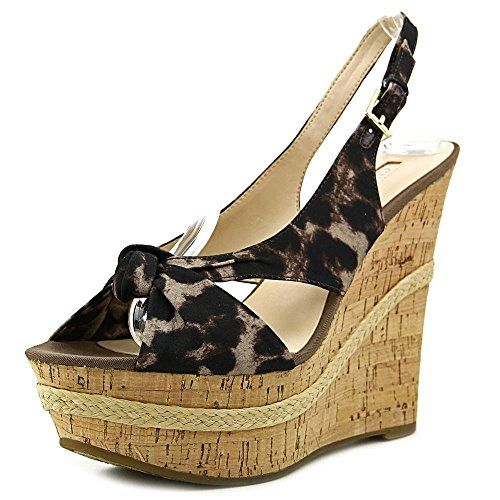 GUESS Women's Delilan Leopard Fabric Wedge