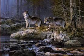 Wolf print by Don Kloetzke.  This hangs over my fireplace.