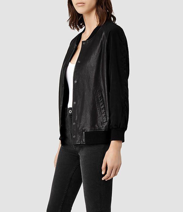 Womens Drey Leather Baseball Jacket Black Allsaints Com Leather Jackets Women Jackets Leather Baseball Jacket