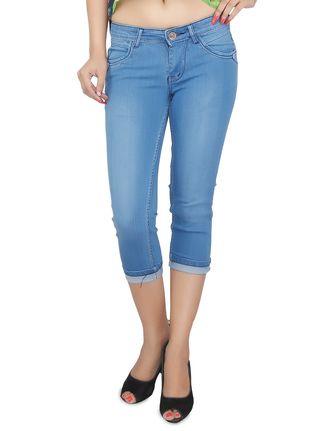 Buy Present Jeans blue stone washed denim capris Online ...
