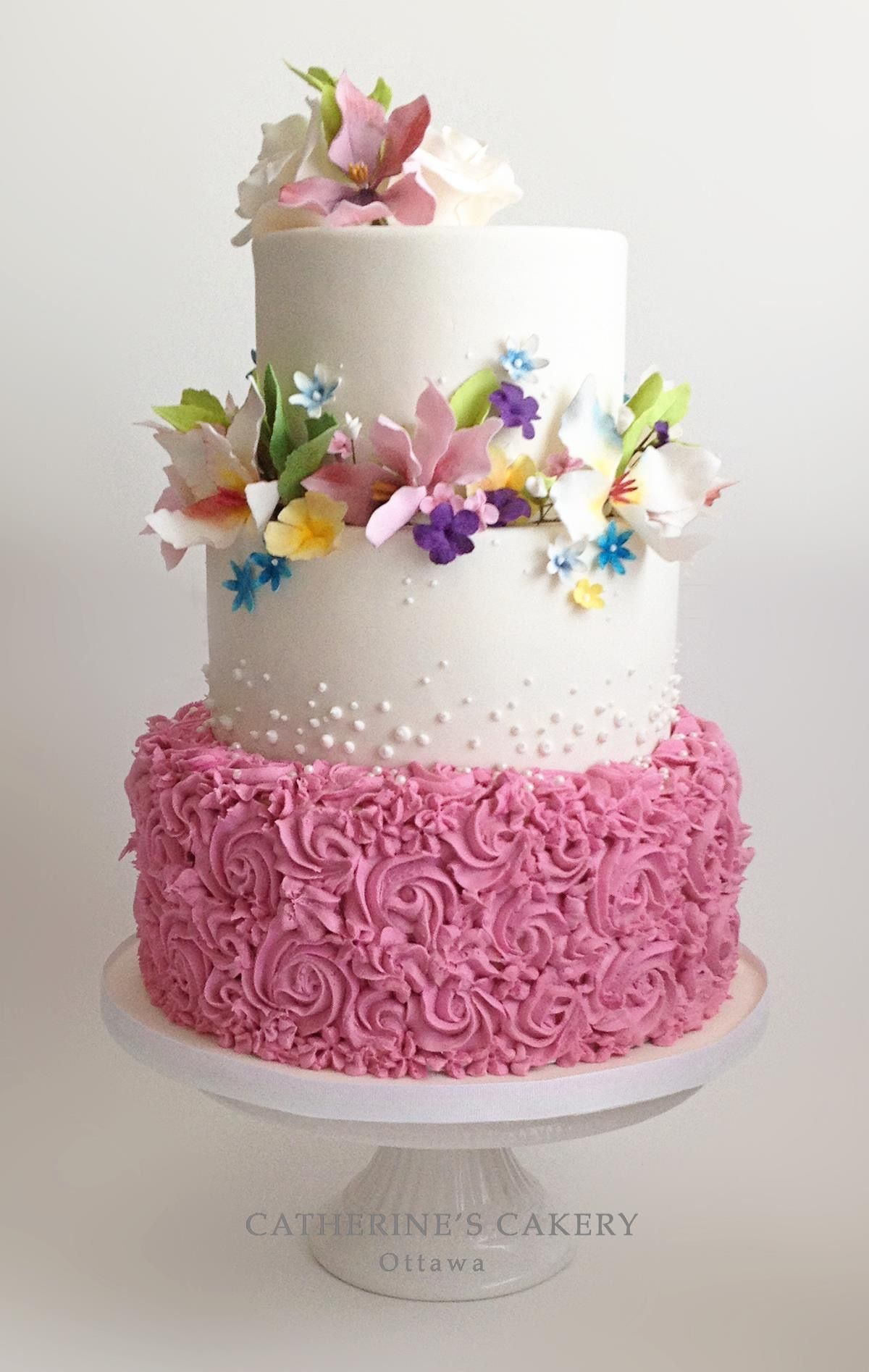 Wedding Cake;Buttercream Swirls & Sugar Flowers in the colors of the ...