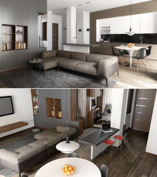 23 idées déco de cuisines ouvertes sur le salon Small apartments - idee bar cuisine ouverte