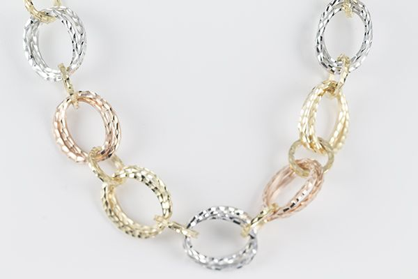 "Genuine and beautiful 16"" 14K Gold Italian Chain Necklace with Tri-Color Diamond-Cut Links in yellow gold, white gold, and rose gold; with a special round security lock. Weight is approximately 28 grams."