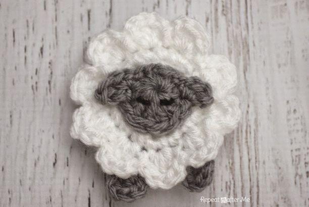 L is for Lamb: Crochet Lamb Applique (Repeat Crafter Me) | Pinterest