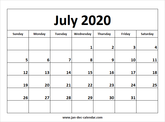 July Calendar 2020.July 2020 Calendar January December Calendar September Calendar